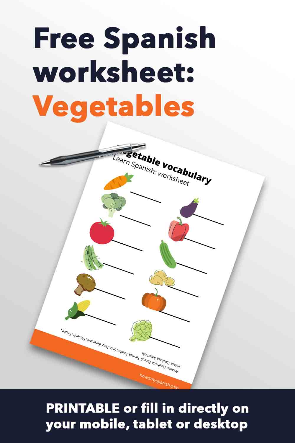 Spanish worksheet vegetables