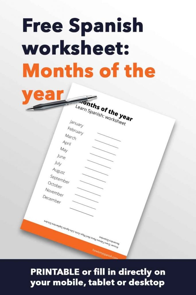 Spanish worksheet - months of the year