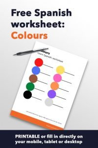 Spanish worksheet colors