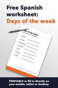 Spanish worksheet Days of the week