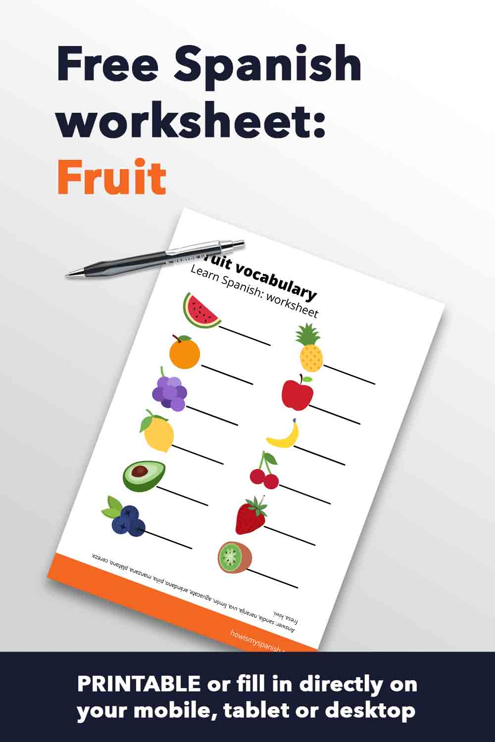 Spanish worksheet fruit