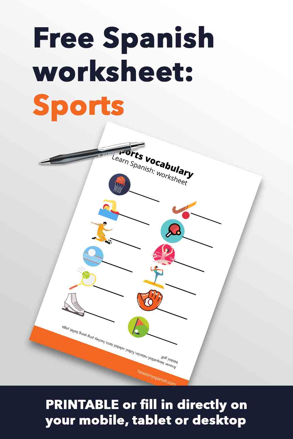 Spanish worksheet sports