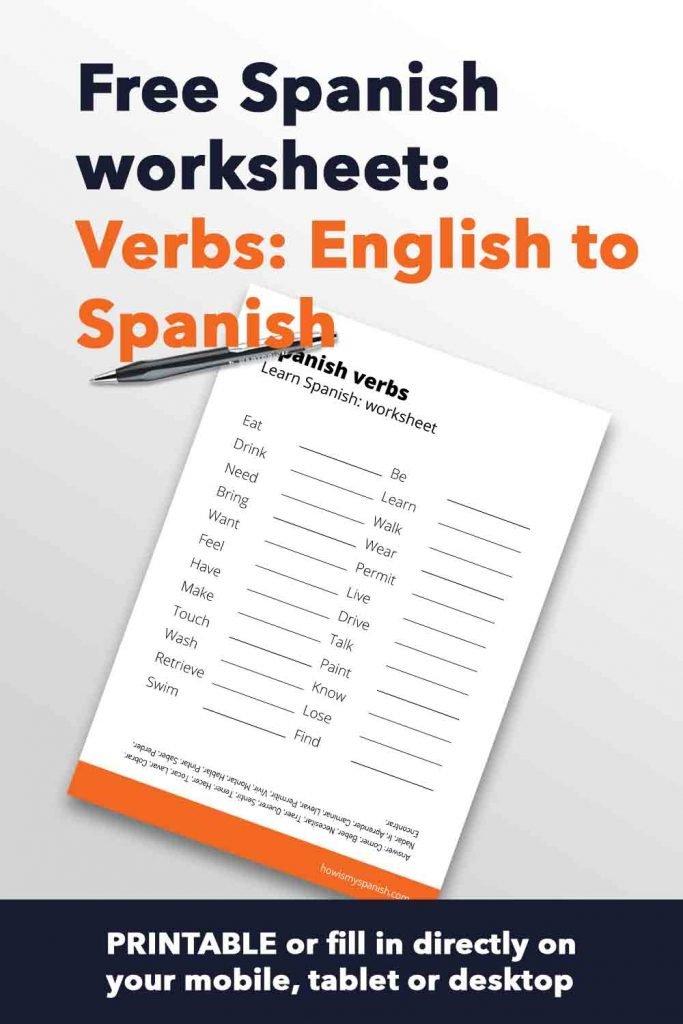 Spanish worksheet verbs English to spanish