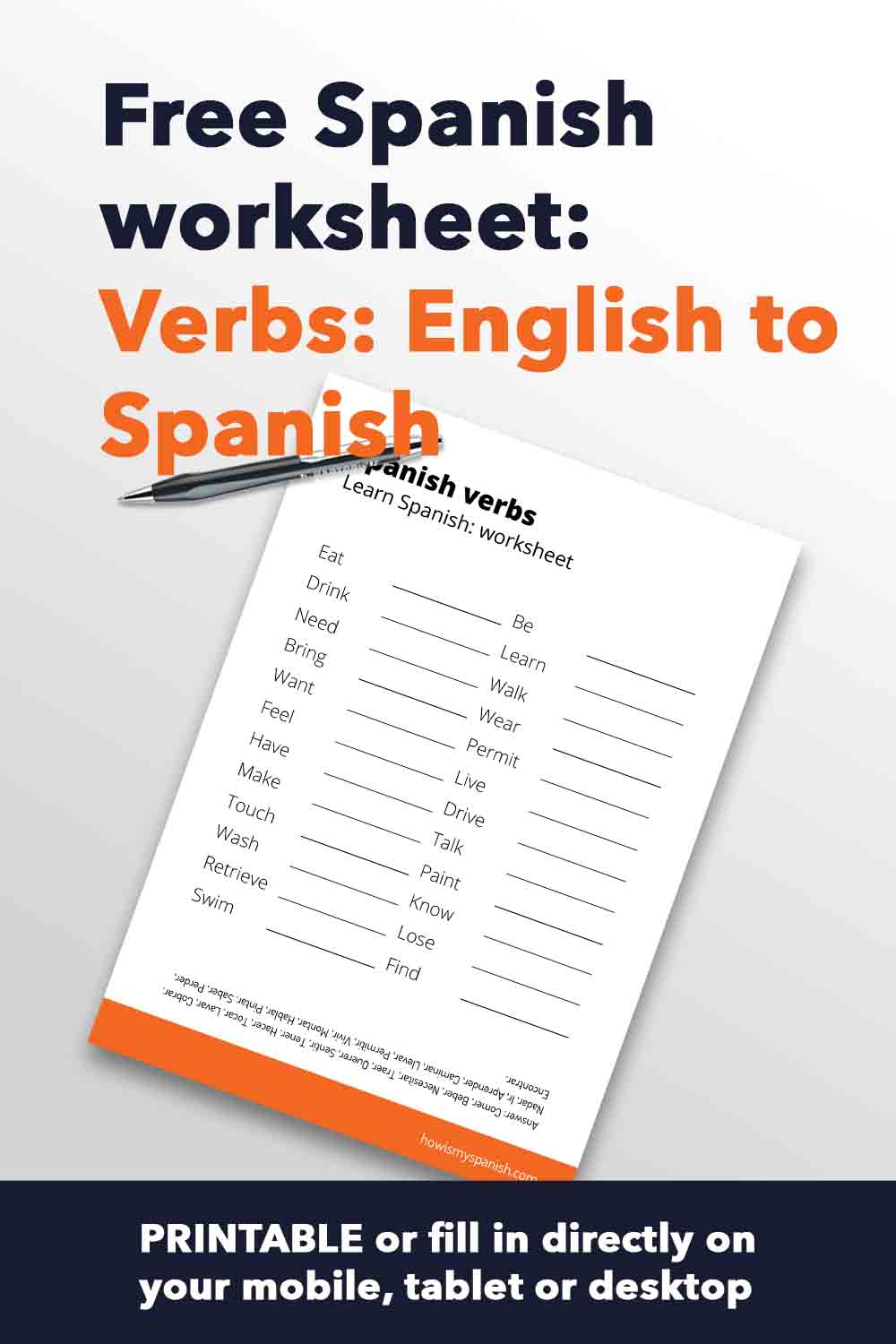 Spanish worksheet verbs English to spanish