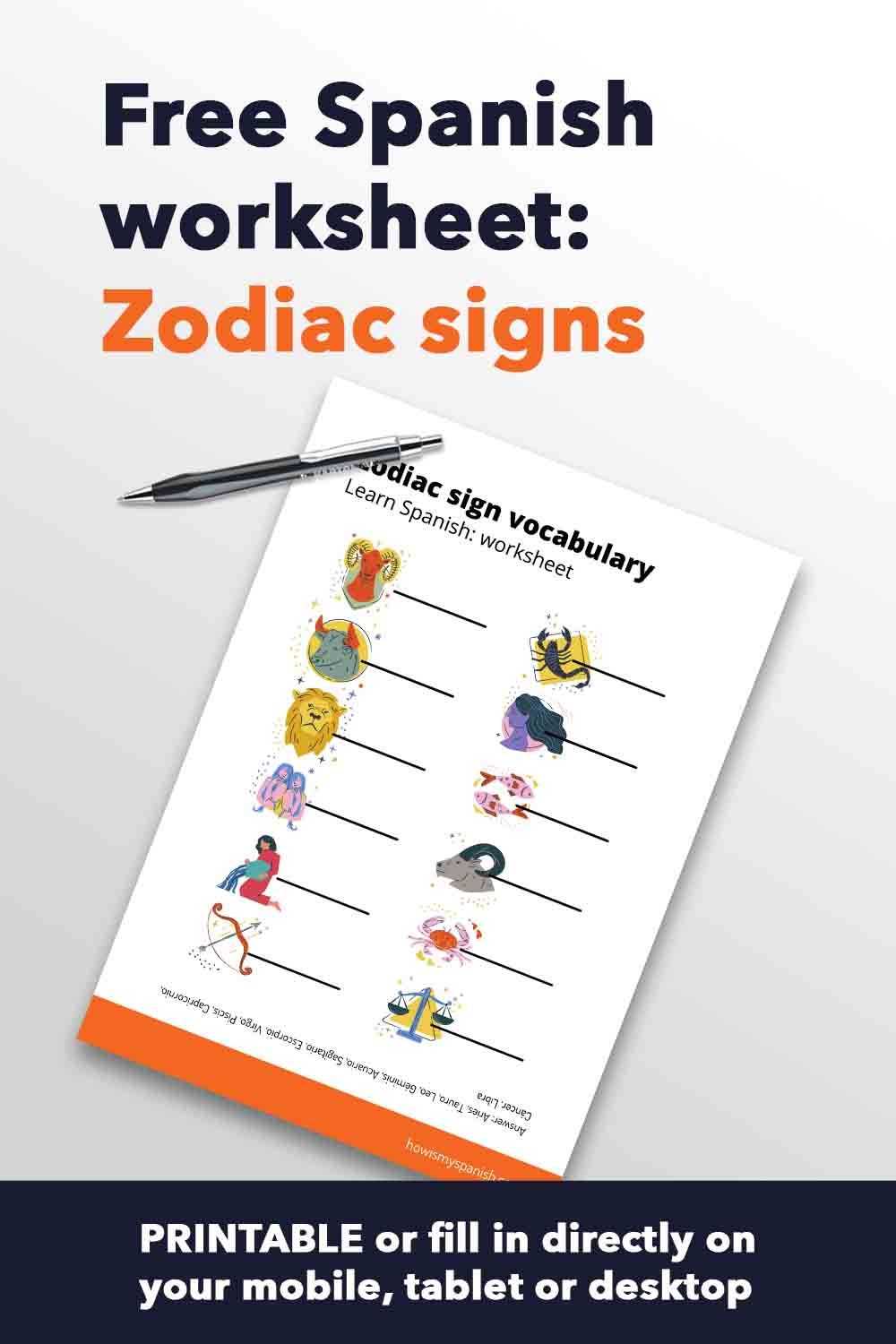Spanish worksheet Zodiac signs